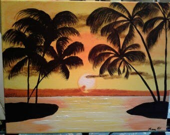 Tropical Sunset Palm Trees Over Lake