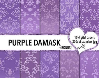 SALE Purple Damask Digital Papers + Bonus Photoshop Pattern File, Seamless, Textures, Backgrounds, Clipart, Personal & Commercial Use