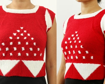 SALE 20%, Hand knitted woman patterned sweater, Handmade red and white woolen crop top