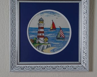 Framed Needle Work Wall Decor Picture  32x32 cm Sailers and Light House