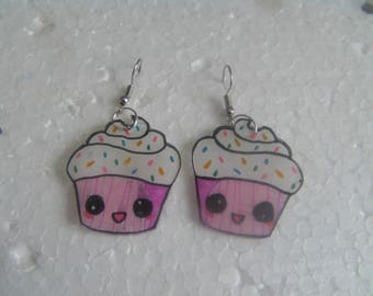 cupcake crazy plastic earrings