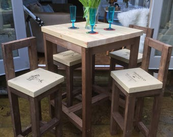 Handmade Bar Stools and Poseur Table