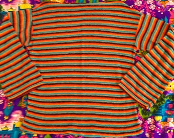 Vintage Striped Lightweight Open Knit Three Quarter Sleeve Sweater Top