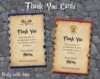 Harry Potter Thank You Card, Hogwarts, Gryffindor, Slytherin, Hufflepuff, Ravenclaw, Printable