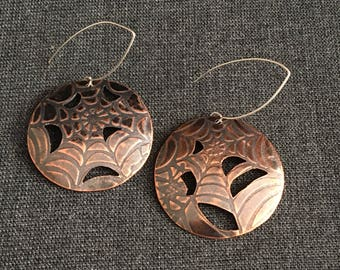 Spider Web Copper Drop Earrings with Open Cut Out