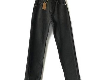 ON SALE Vintage Wrangler Jeans, Black Wrangler High Waist Jeans, 24 25 inch waist, Size 0 Size 2