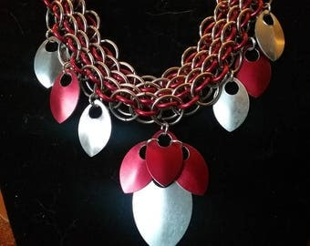 Red and Silver Dragonscale Necklace