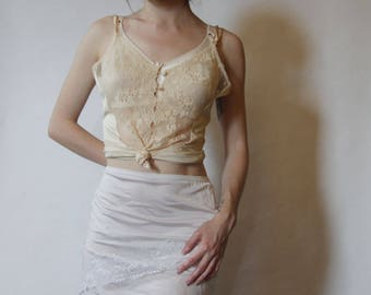50s Delicate Gold Lace Camisole XS/S
