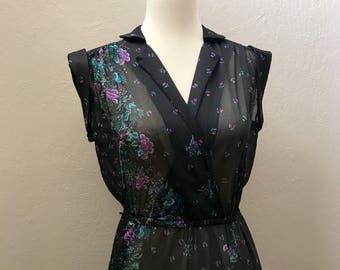 Vintage 1970s Sheer Black Floral Dress / Small