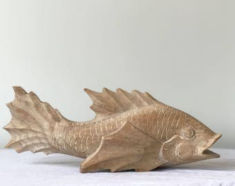 Large Vintage Carved Wood Koi Decorative Accent