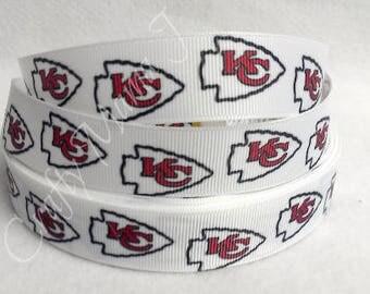 "Kansas City Chiefs Football Team 7/8"" Grosgrain Ribbon by the yard.Choose 3/5/10. KC Chiefs"