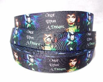 "SALE Disney Maleficent Movie ""Once Upon a Dream"" 7/8"" Grosgrain Ribbon By The Yard. Choose 3/5/10 yards. Sleeping Beauty"