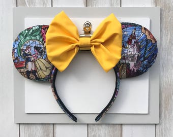 Beauty and the Beast Mickey Ears.  Stained Glass Ears. Belle Mickey Ears..