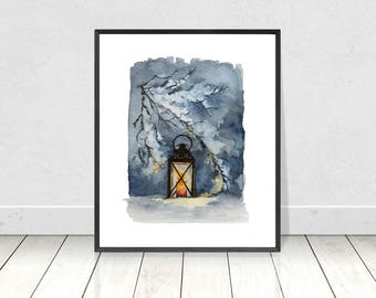 Lantern in the Snow Watercolor Landscape Painting Digital Download- Winter Scenery Landscape Art Print- Living Room and Home Decor- Wall Art