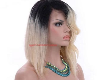 """Remy Human Hair Wig, Full Lace Ombre Dip Dye Balayage 1b-Roots/Blonde-613  Silky Straight/wavy from 14""""-24"""" Glueless Cap with Combs & Straps"""