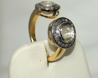 Victorian-style 1.90ctw rose cut uncut diamond Polki Sterling silver Gold Plated Open Ring - 2651712