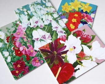 Pack of 4 Floral Greeting Cards - (A6 Size - Set 1) - From the artwork of Cassie Butcher