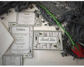 Rustic Rose Wedding Invitation Set