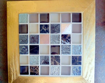 Trivet coaster flat mosaic kitchen utensil, original, handcrafted, hand made