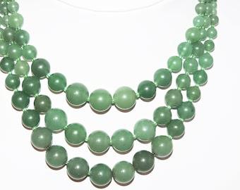 Vintage JADE Necklace Triple Strand 94 Grams Jadeite NECKLACE