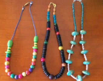 Set of 3 wooden bead necklaces