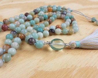 Hand Knotted Amazonite 108 Bead Mala Tassel Necklace, Aqua Quartz Guru Bead, Yoga Necklace, Meditation Mala, Prayer Beads