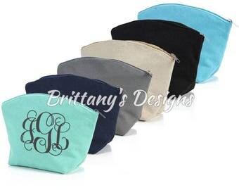 Monogram Make-Up Bag - personalized cosmetic bag - bridesmaid gifts - wedding party gifts - bridesmaid - make up bag - personalized