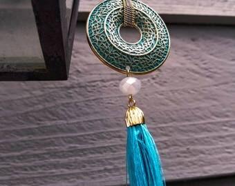 Vintage Style Blue Tassel Necklace