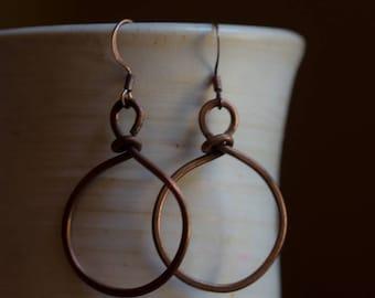 Copper Wire Simple Hoop Earrings 14 ga. Free U.S. Shipping. Handmade.