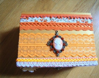 Small orange and white jewelry box