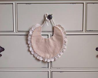 Beige/Floral on White Reversible Bib/ Reversible Bib/ Fashion Bib/ Drool Bib/ Baby Bib/ Baby Drool Bib/ Baby Shower Gift
