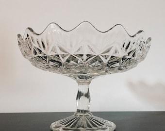 Vintage pressed glass serving bowl