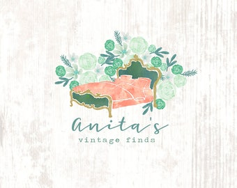 vintage furniture logo. watercolor floral vintage furniture antique shop premade logo design e