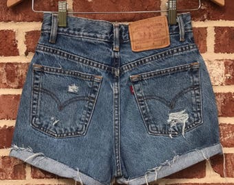 Vintage High Waisted Distressed Levi Shorts