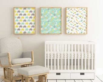 Set of 3 Customizable Nursery Prints - Instant Download - Nursery Poster Set, Nursery Print Set, Nursery Decor, Nursery Wall Art, Modern