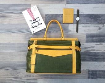 Genuine Leather vintage style Travel bag or weekend Bag retro style UNISEX