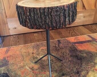 Oak Accent Table - Tripod Pedestal
