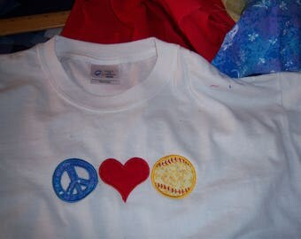 Softball T shirt. For the love of softball appliqued t shirt.