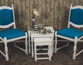 Set * 2 chairs + side tables * petrol * white * unique * design