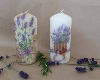 Lavender - Inspired decoupage candle