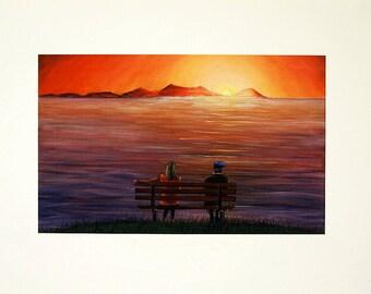 Oil seascape/Arran/vibrant seascape/A4/A3/Sundown art/giclee print/home and office decor
