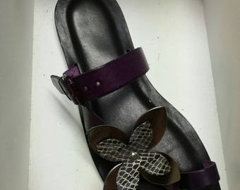 Black Leather thong sandals with sashes and flower