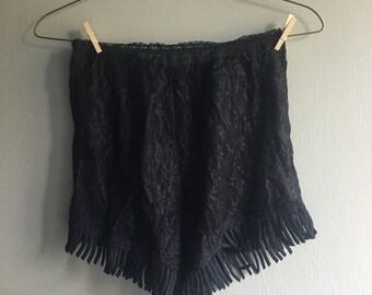 Vintage fringe lace shorts
