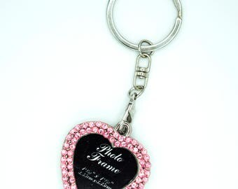 Photo Keychain - Picture Keychain - Personalized Picture Keychain Embellished with Crystals from Swarovski