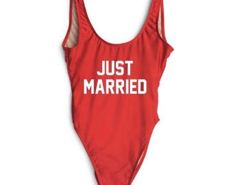 In stock- ready to ship. Just married Bathing suit, swim suit, one piece- red