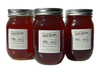 Raw Natural Wildflower Honey 3- 24 Oz. jars (72 ounces total)- FREE SHIPPING