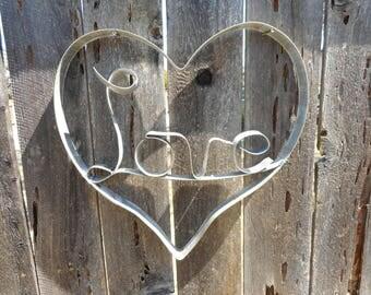 Wine Barrel Hoop Art Wall Hanging Heart with Love Inside Napa Valley Wine Hoop Art Metal Heart