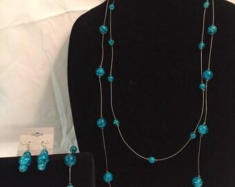 Blue Steel Necklace Set
