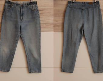 Lee Elastic Waist , 34 Waist Lee Jeans , 80s High waisted LEE jeans , High waist Mom Jeans 80s , Vintage Lee , 80s denim pants , Pocketless