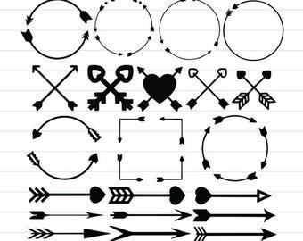 INSTANT DOWNLOAD - Arrow Monogram Frame Svg, Arrows Frames Svg, Arrows Monogram Svg, Arrow Svg, Arrow Clipart, Arrows Digital Cut File